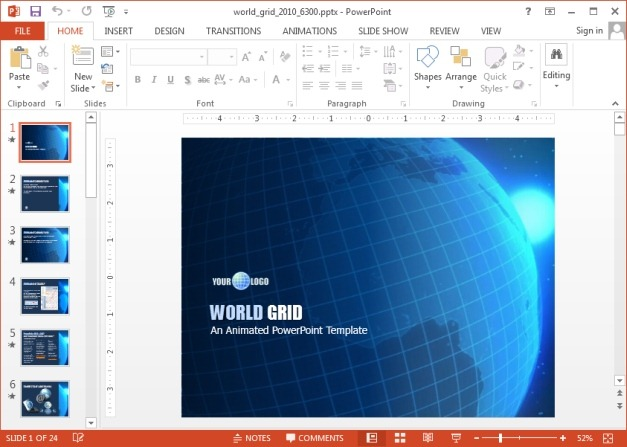 World grid PowerPoint template